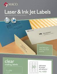 maco laser ink jet matte clear address labels 1 x 2