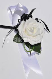 Black And White Corsage Shop Artificial White Foam Rose Wrist Corsage With Black And White