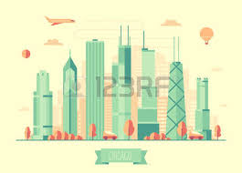 chicago skyline architecture vector illustration with plane cars