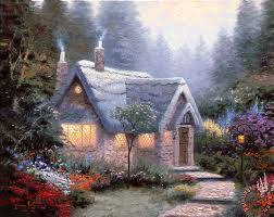 kinkade cedar nook cottage painting cedar nook cottage
