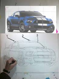 how to draw a car step by step mustang shelby gt500 with marker
