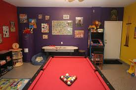fascinating video game room design idea with leather sofa and