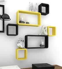 wall shelves pepperfry buy decornation black yellow floating cube rectangle wall shelf