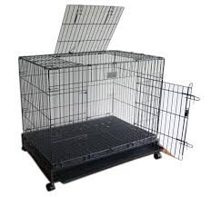xlarge metal folding double door dog cage with wheels lbh
