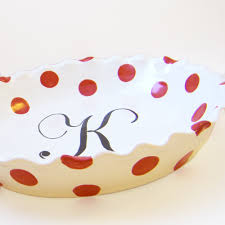 personalized pie plate ceramic polka dot pie dish personalized pie plate polka dot