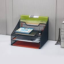 File Desk Organizer Bonsaii Steel Mesh Organizer 5 Compartment Letter File Desktop