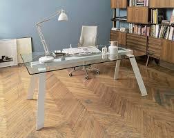 table de bureau en verre toronto bureau verre transparent 160 x 100 cm pieds métal blanc