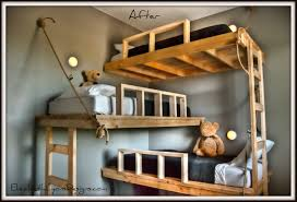 bedroom lovely triple bunk bed in cabin style awesome bunk beds