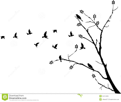 bird flying around a tree branch stock illustration illustration