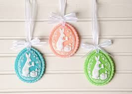 springerle easter egg ornaments using cold porcelain clay
