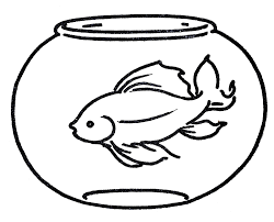 fish bowl coloring page printable virtren com