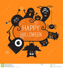 free halloween orange background pumpkin happy halloween countour doodle ghost bat stock vector image