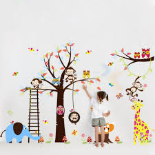 online shop 140 235cm jungle safari forest animal cute pvc wall online shop 140 235cm jungle safari forest animal cute pvc wall stickers new arrival hot selling wall decals for home decor 1213 aliexpress mobile