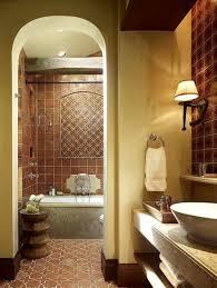 Bathroom Mediterranean Style Great Mediterranean Bathroom With Brown Ceramic Tiles And Vessel