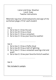 listen read u0026 draw weather worksheets worksheet free esl