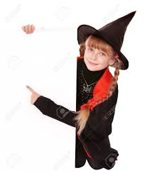 child witch holding banner pointing isolated stock photo