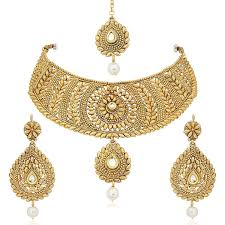 gold har set meenaz gold plated combo of mang tika earrings necklace
