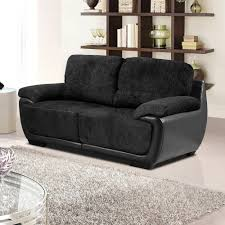 overton chenille black fabric sofas with black leather match trim
