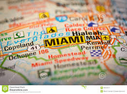 Miami City Map by Miami City On A Road Map Stock Photo Image 42578771