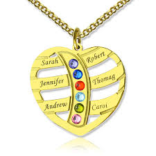 mothers necklace with kids birthstones mothers necklace with children names birthstones in gold