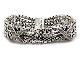 diamond bracelet sterling silver images David yurman pave diamond double x four strand bracelet sterling jpg