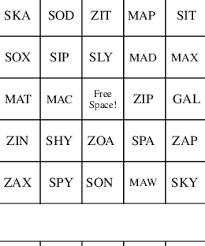 two letter and three letter scrabble words bingo cards