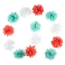 turquoise coral pom pom flower garland hobby lobby 80770820
