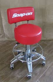 snap on rolling stool back red chair tools shop man cave