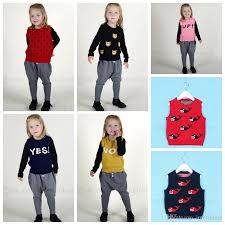 sweater vest clothing ins kids cartoon knitted sweaters children