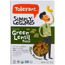 tolerant simply legumes organic green lentil pasta 8 oz 227 g