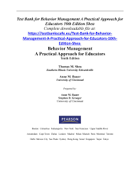 test bank for behavior management a practical approach for