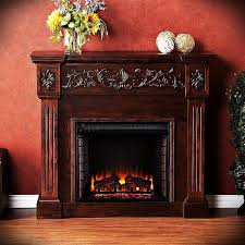 freestanding electric fireplace mantel heater realistic flame