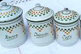 set of 6 vintage french kitchen storage jars enamel canisters