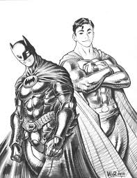 2009 batman and superman con sketch by adamwarren on deviantart