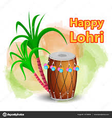 Lohri Invitation Cards Happy Lohri Greeting Card With Drum And Sugarcane Punjabi