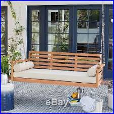 outdoor patio porch swing hanging bed wood chair seat cushions
