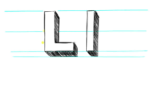 how to draw 3d letters l uppercase l and lowercase l in 90