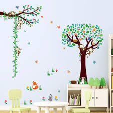 popular free monkey wallpaper buy cheap lots creative home decor plane wall stickers green tree monkey height ruler sticker for children room mural