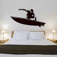 Surf Home Decor by Surfer Sea Sports Retro Silhouette Wall Art Sticker Wall Decal