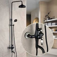 Shower Faucet Oil Rubbed Bronze Exposed Bathroom Rainfall Shower Faucet Set Tub Mixer Tap 8