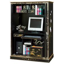 Black Computer Armoire Lacquer Courtyard Design Computer Armoire