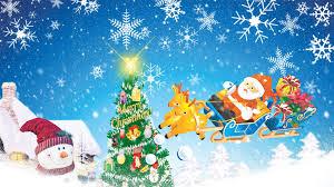 winter santa sleigh merry trees sky snowflakes feliz