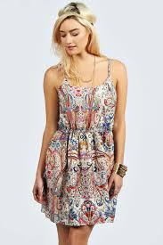 boohoo clothes summer sketch colour paisley strappy dress at boohoo woman