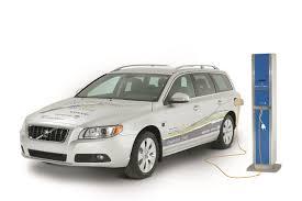 volvo v70 the volvo v70 plug in hybrid demonstration car fuelling up at a
