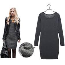women winter dress black grey long sleeve dress plus size xxl