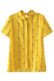 bird blouse yellow lapel sleeve bird print blouse beautifulhalo com
