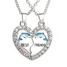 best friend heart necklace images Best friend dolphin heart silver tone 2 pendants 2 jpg