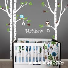 Nursery Wall Tree Decals Birch Tree Owl Bird And Custom Name Baby Nursery Wall