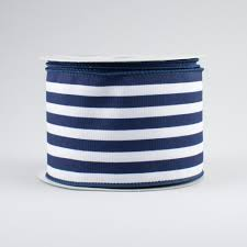 navy blue and white striped ribbon 2 5 vertical stripe ribbon navy blue white 10 yards