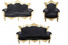 Black And Gold Living Room Furniture Casa Padrino Baroque Living Room Set Black Gold 3 Seater 2